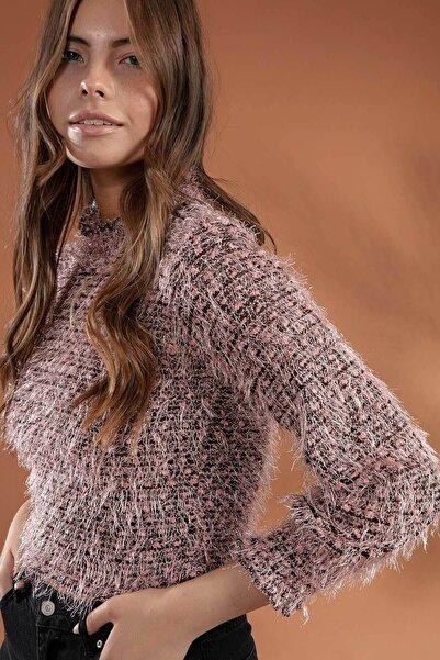 Y-London Kadın Pudra Uzun Kol Sakallı Sweatshirt F419 Y19W104-F419