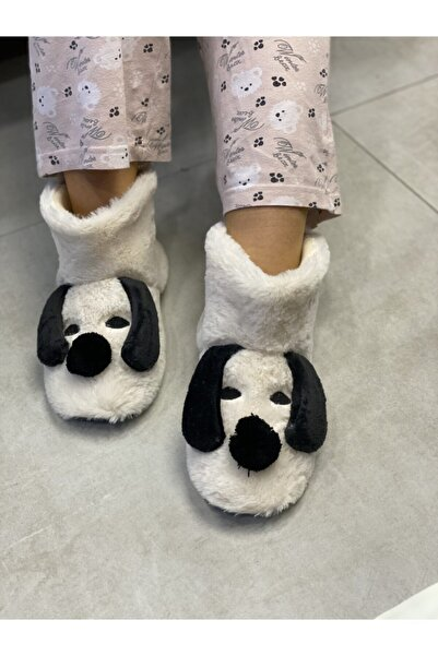 HEYBECİ ÇANTA Kadın Krem Köpek Modelli Panduf