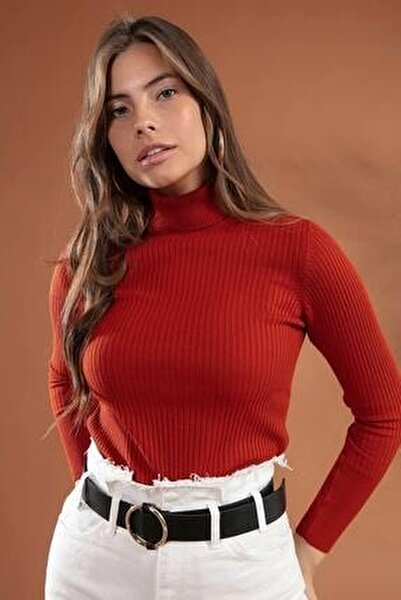 Kadın Boğazlı Fitilli Triko Kazak Y20w110-44500