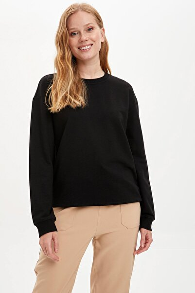DeFacto Kadın Siyah Yarım Düşük Omuz Sweatshirt M0021AZ20AU