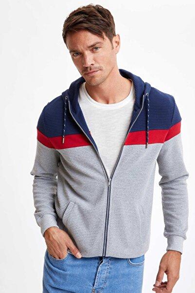 DeFacto Erkek Navy Kapüşonlu Blok Desenli Fermuarlı Sweatshirt R5766AZ20AU