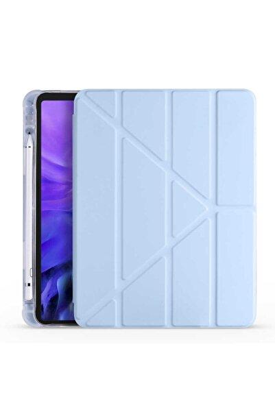 Samsung Nihcase Galaxy Tab S6 Lite P610 Kılıf Tri Folding Smart Cover Standlı Kalemlikli Kapak Mavi