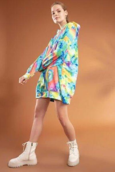 Kadın Batik Desenli Kapşonlu Oversize Elbise Sweatshirt Y20w110-4125-9