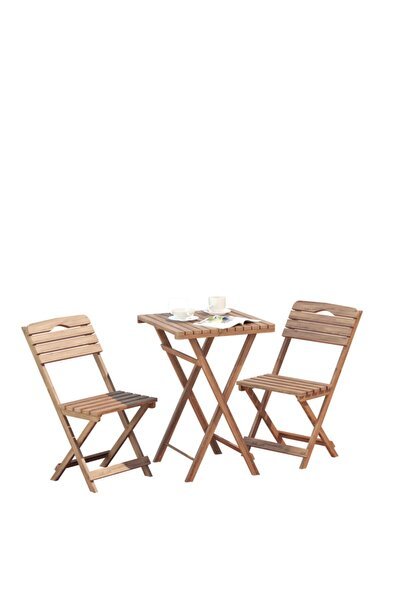 BAHTAŞ Balkon - Bahçe 3'lü Katlanabilir Bistro Set 2 Sandalye 1 Bahçe Masası