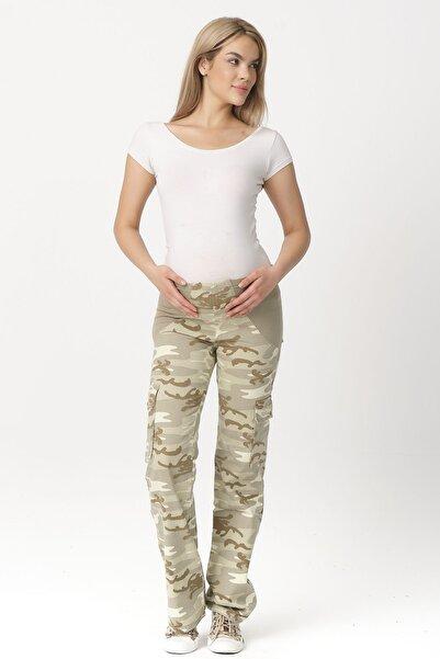 DEKONS Kadın Yeşil Kamuflaj Desen Hamile Pantolon