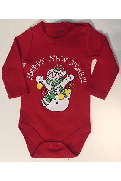 Fuar Baby Unisex Bebek Kırmızı Yılbaşı Konseptli Uzun Kol Body