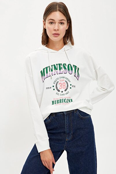 DeFacto Kadın Ecru Kapüşonlu Yazı Baskılı Sweatshirt S1165AZ20AU