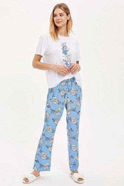 DeFacto Fit Kadın Lt.Blue Çiçek Baskılı Pijama Takımı S1727AZ20AU
