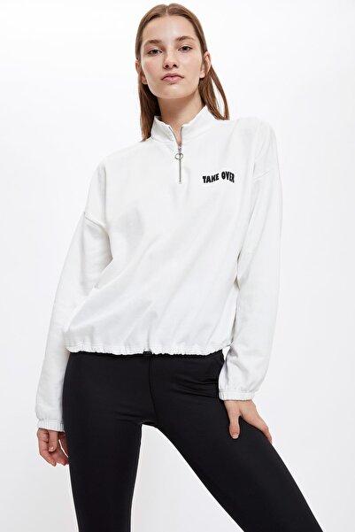 DeFacto Kadın Ecru Yazı Baskılı Beli Büzgülü Sweatshirt S1620AZ20AU