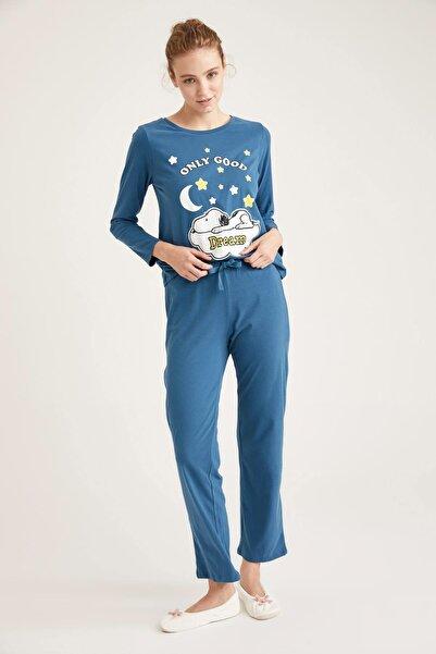 DeFacto Fit Kadın Mavi Snoopy Lisanslı Uzun Kollu Pijama Takımı