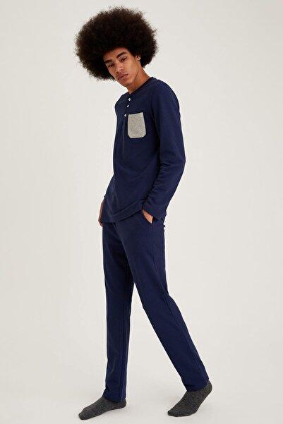 DeFacto Fit Erkek Navy Regualar Fit Pijama Takım S9466AZ20WN
