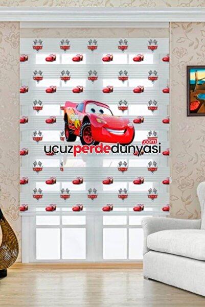 UCUZPERDEDUNYASI Brillant - Şimşek Mcqueen Baskılı Çocuk Odası Zebra Perde