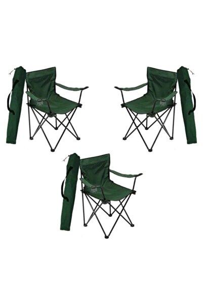 Çınar Garden Yeşil Katlanır Kamp Sandalye Bahçe Koltuğu Piknik Plaj Balkon Sandalyesi 3 Adet