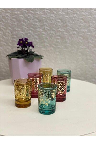 Sigma 6'lı Renkli Lüx Yaldızlı Kahve Yanı Bardağı-küçük