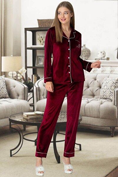 Mecit Pijama Bordo Kadife Önden Düğmeli Kadın Pijama Takımı