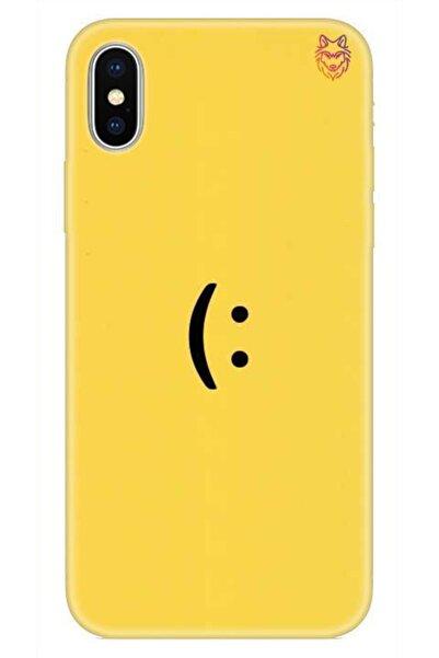 Wolf Dizayn iPhone XS Max Sarı Silikon Kılıf -Yellow Smile