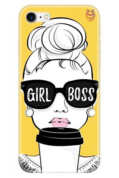 Wolf Dizayn iPhone 7 Sarı Silikon Kılıf -Girl Boss