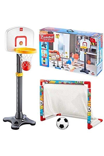 DEDE Oyuncak Futbol Kalesi + Dev Basketbol Potası Ayarlanabilir Çocuk Oyuncakları Depomiks