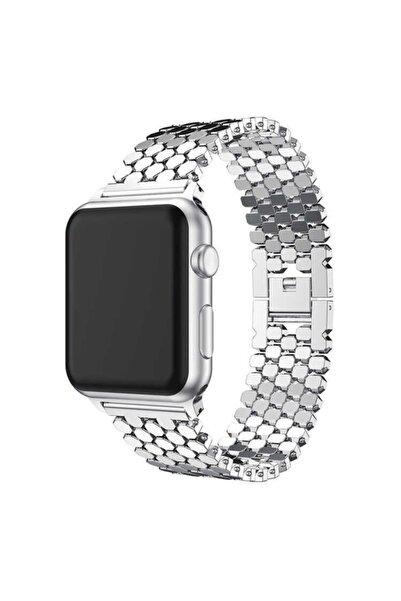 zore Apple Watch 1 2 3 4 5 6 Serisi 40mm Bal Peteği Desenli Metal Kordon (krd-30)