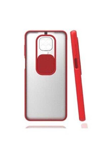 E TicaShop Xiaomi Redmi Note 9s / 9 Pro Kılıf Kamera Lens Korumalı Sürgülü Mat Lüx Kılıf Kırmızı
