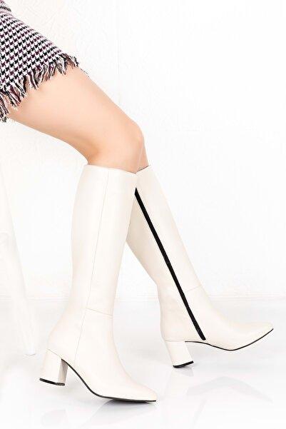 Gondol Kadın Ekru Hakiki Deri Topuklu Çizme