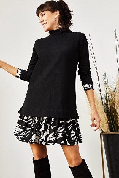 Olalook Kadın Siyah Beyaz Desenli Garnili Selanik Elbise ELB-19000965