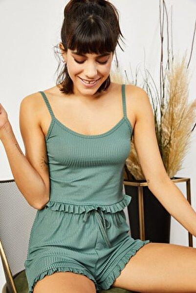 Kadın Mint Yeşili Askılı Fırfırlı Pijama Takımı TKM-19000076