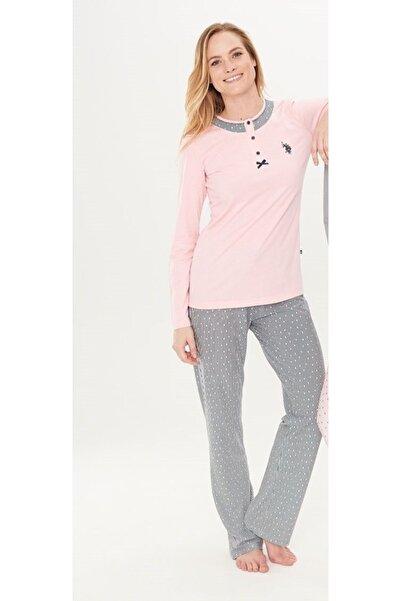 U.S. Polo Assn. Kadın Pembe Pijama Takım 15738