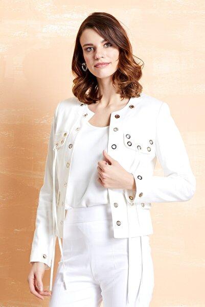 SERPİL Kadın Ekru Kuşgözlü Fit Ceket 32064
