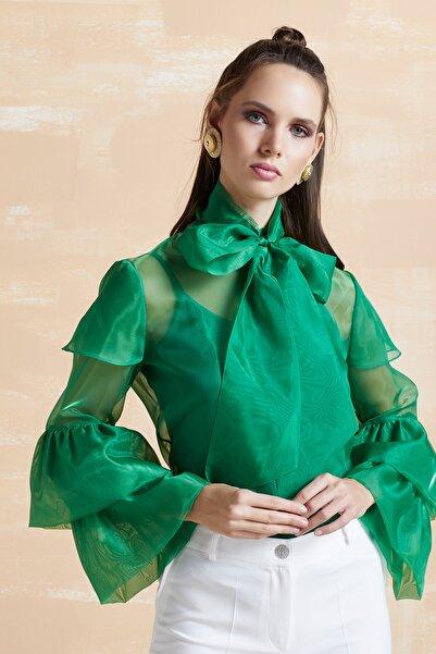 SERPİL Kadın Yeşil Fırfırlı Organze Gömlek 32397