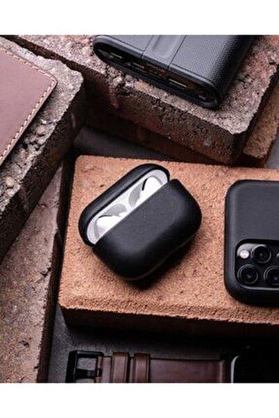 Airpods Pro 360 Koruyucu Siyah Deri Kılıf