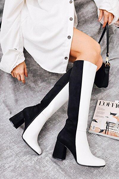 Limoya Savanna Siyah Beyaz Kısa Topuklu Dizaltı Fermuarlı Çizme