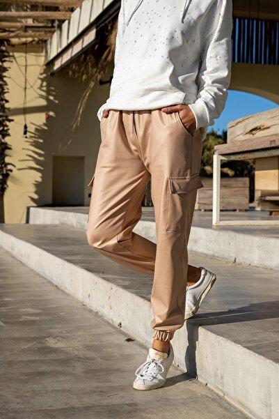 Güneşkızı Kadın Bej Beli Lastikli Yanı Cepli Özel Parlak Dokulu Salaş Pantolon GK-RSD2019