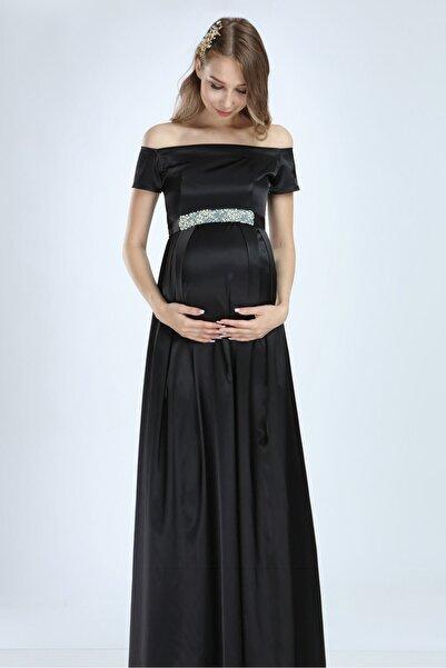 Moda Labio Saten Incili Siyah Hamile Elbise