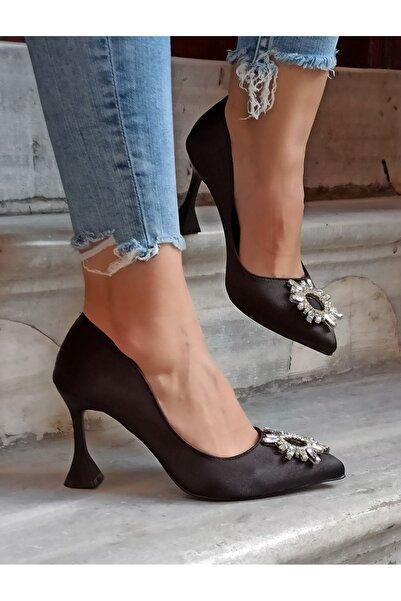 DS AYAKKABI Kadın Siyah Renk Güneş Taş Topuklu Ayakkabı 9 cm