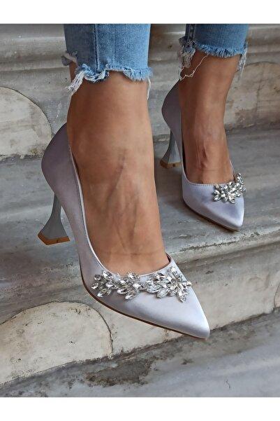 DS AYAKKABI Kadın Gümüş Saten Yaprak Taş Topuklu Ayakkabı 9 cm