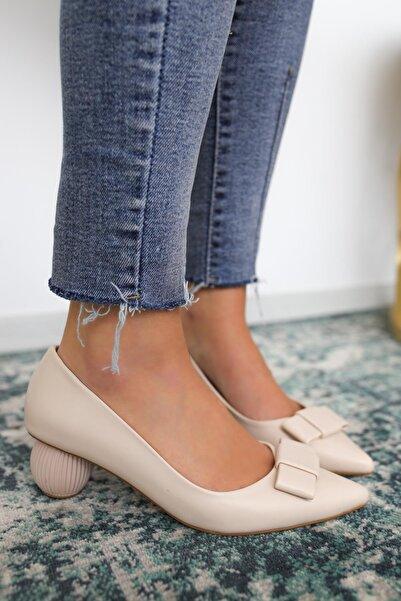 Limoya Ezra Bej Deri Topuk Detaylı Ayakkabı