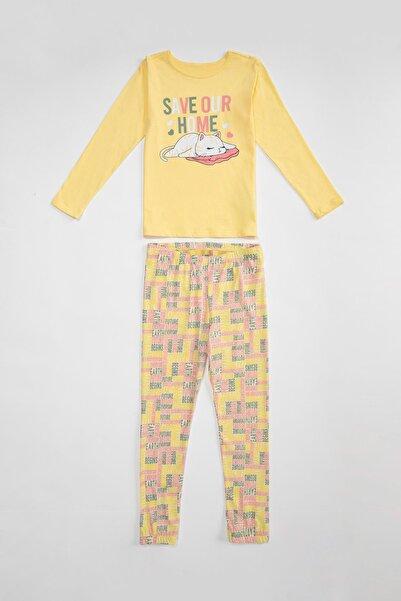 DeFacto Kız Çocuk Kedi Baskılı Pamuklu Pijama Takım