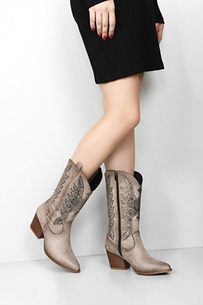 GÖNDERİ(R) Gön Vizon Süet Sivri Burun Topuklu Western Kovboy Günlük Kadın Çizme 38601