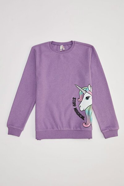 DeFacto Kız Çocuk Mor Unicorn Baskılı Sweatshirt