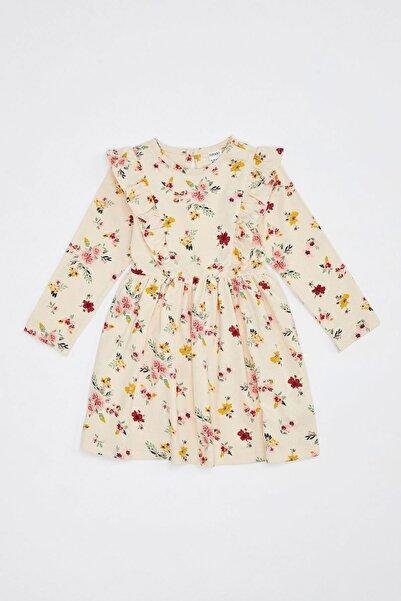 DeFacto Kız Bebek Çiçek Desenli Uzun Kol Elbise