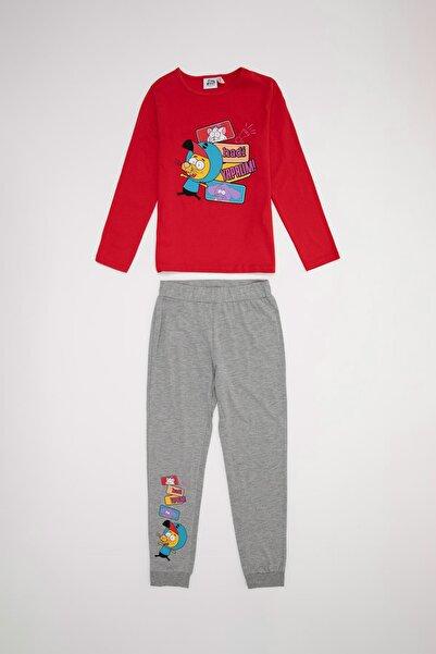 DeFacto Kız Çocuk Kırmızı Kral Şakir Lisanslı Pijama Takımı
