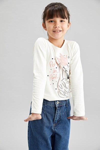 DeFacto Kız Çocuk Ekru Baskılı Işıklı Bluz