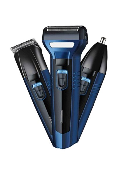 yopigo ( Mavi) 3 In 1 Profesyonel Saç Sakal Kesme Ense Burun Traş Tıraş Makinesi Seti