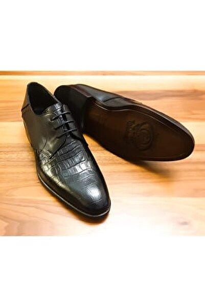Erkek Siyah Hakiki Deri Bağcıklı Klasik Ayakkabı