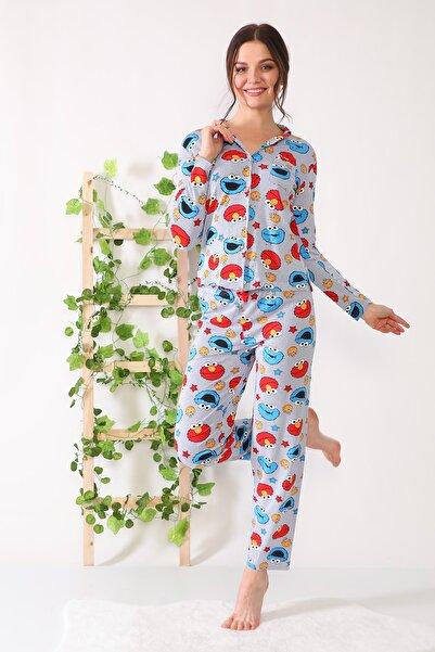 Ecrou Kadın Lacivert Baskılı Düğmeli Uzun Kol Pijama Takım