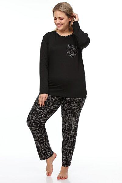 Moda Cazibe Kadın Siyah Büyük Beden Desenli Örme Viskon Pijama Altı
