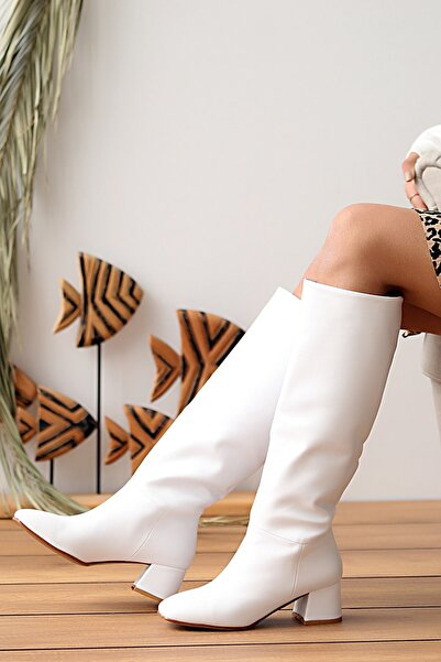 Pembe Potin Kadın Beyaz Çizme
