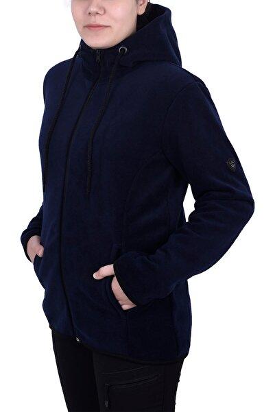 GHASSY CO. Kadın Lacivert  Kapşonlu Fermuarlı Polar Sweatshirt