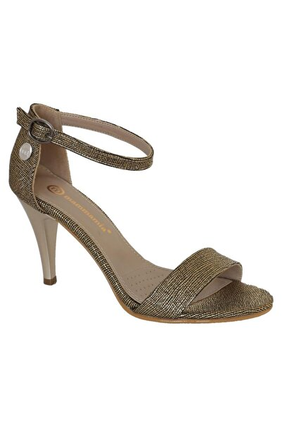 Mammamia Kadın Altın Fashion Tek Bant Topuklu Ayakkabı 1695